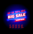 big sale off shop new neon banner set collection vector image vector image