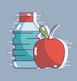 bottle of water with fresh apple fruit vector image vector image