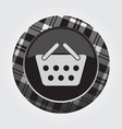 button with white black tartan - shopping basket vector image vector image