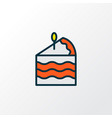 cake piece icon colored line symbol premium vector image
