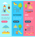 cartoon playground in city and element banner vector image
