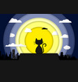 cat sitting on a robackground moonlight vector image