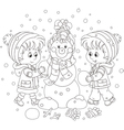 Children making a Christmas snowman vector image vector image