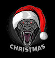 christmas gorilla wearing santa claus hat vector image