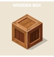 Closed wooden box isometric vector image vector image