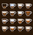 coffee types set vector image vector image