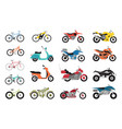 collection of motorcycles and bicycles icons moto vector image vector image