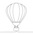 continuous line drawing hot air balloon vector image vector image
