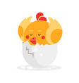 cute newborn yellow bird character funny nestling vector image vector image