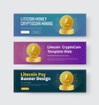 design of horizontal web banners with gold coin vector image vector image