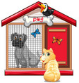 dog cage with dog cat and bird cartoon isolated vector image vector image