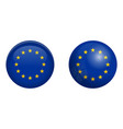 european union flag under 3d dome button and on vector image vector image