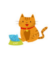 funny cat sitting next to a bowl of fish cute vector image vector image