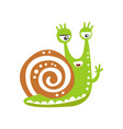 funny snail character waving its hand cute green vector image vector image