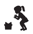 girl and gift box silhouette vector image vector image