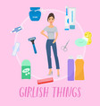 girlish things banner hygiene vector image vector image