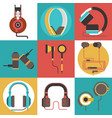 headphone seamless pattern headset listening to vector image vector image