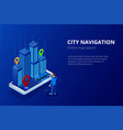 isometric gps satellite navigation web banner for vector image