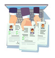 job competition candidates hold cv resume online vector image