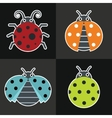 Ladybug icons on black background vector image vector image