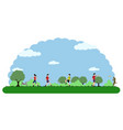 landscape of a park with people doing exercises vector image