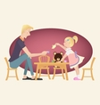 Little kid girl playing tea party with her father vector image vector image