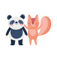little panda and squirrel cartoon character on vector image vector image
