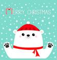 merry christmas white polar bear holding hands vector image vector image