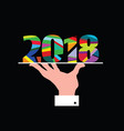 new year 2018 in hands vector image vector image