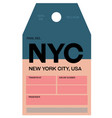 new york city airport luggage tag vector image vector image