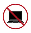 not use laptop sign communication technology vector image vector image
