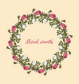 pink and white roses wreath vector image