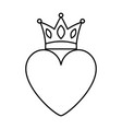pink heart love crown romantic passion icon vector image vector image