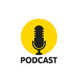 podcast flat icon logo vector image vector image