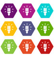 powersave lamp icons set 9 vector image