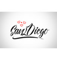 san diego city design typography with red heart vector image