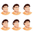 set man face icons vector image