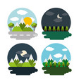 set of landscape day night mountains forest vector image vector image