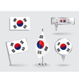 Set of South Korean pin icon and map pointer vector image vector image