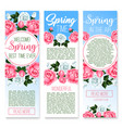 Spring holidays floral welcome banner template vector image