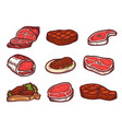 steak icon set hand drawn style vector image