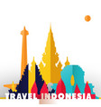 travel indonesia paper cut world monuments vector image vector image