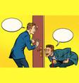 two men spy each other through the door vector image