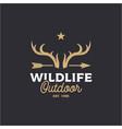 vintage deer horn and arrow logo design vector image vector image