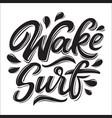 wakesurf lettering logo in graffiti style vector image