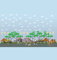 walk in park in flat style vector image