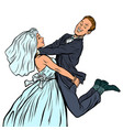 wedding happy loving bride and groom woman vector image vector image