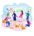 woman shake hand team report financial strategy vector image vector image