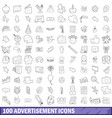 100 advertisement icons set outline style vector image vector image