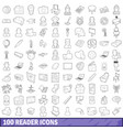 100 reader icons set outline style vector image vector image